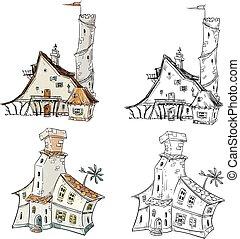 fantasi, vektor, illustration, hus