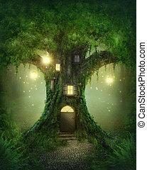 fantasia, albero, casa