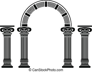 fantasia, arco, e, columns., stampino