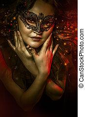fantasia, arte, donna, con, maschera veneziana, cabaret