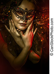 fantasia, arte, mulher, com, máscara veneziana, cabaré
