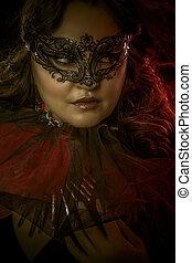 fantasia, arte, sensual, mulher, com, máscara veneziana, cabaré