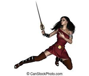 fantasia, bárbaro, swordswoman