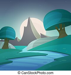 fantasia, cartone animato, paesaggio