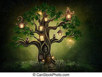fantasia, casa árvore