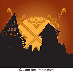 fantasia, castello, spade, rovine