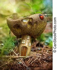 fantasia, cogumelo, casa