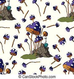 fantasia, cogumelos, vector.