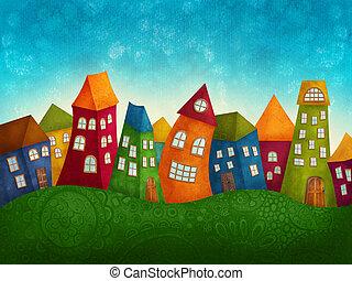 fantasia, coloridos, casas