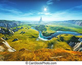 fantasia, coloridos, paisagem