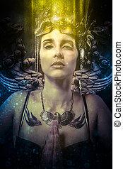 fantasia, conceito, mulher, com, formado, dourado, máscara