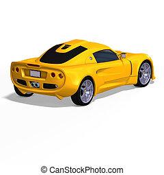fantasia, correndo, carro amarelo