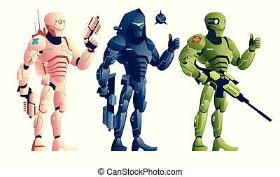 Ninja cyborg vettore robot guerriero.