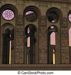 fantasia, dawn., tema, fundo, 3d, fazendo, templo, usage.