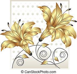 fantasia, dourado, flor, desenho