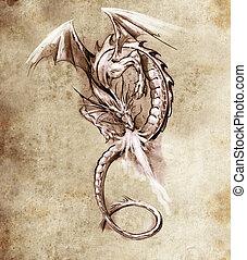 fantasia, dragon., esboço, de, tatuagem, arte, medieval,...
