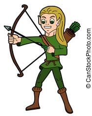 fantasia, elvish, -, caricatura, arqueiro