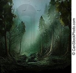 fantasia, escuro, floresta