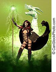 fantasia, femininas, e, dragão