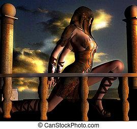 fantasia, femmina, guerriero