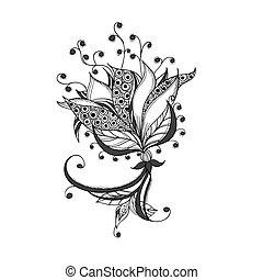 fantasia, fiore, nero bianco, tatuaggio, modello