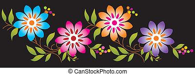 fantasia, flor, borda