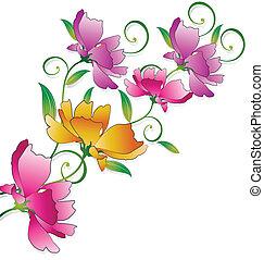 fantasia, flor, grupo, para, saudações