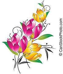 fantasia, floral, grupo