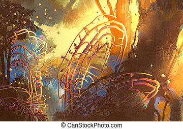 fantasia, floresta, com, abstratos, árvores