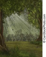 fantasia, floresta, com, borboleta, 3d, fazendo