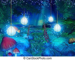 fantasia, floresta, ilustração