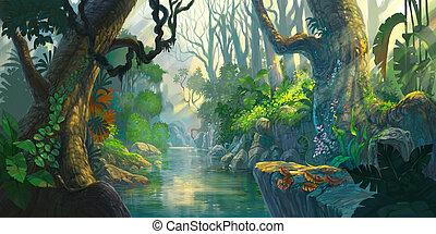fantasia, floresta, quadro