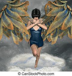 fantasia, fundo, com, anjo