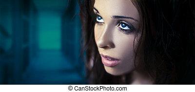 fantasia, glamor, retrato, de, um, jovem, beleza