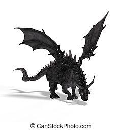 fantasia, grande, dragão