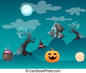 fantasia, halloween, paesaggio