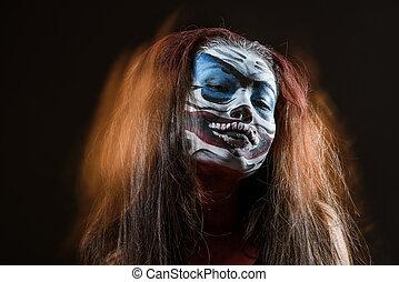 fantasia, hallowen, fare, su., primo piano, colpo, di, fata, faccia, arte