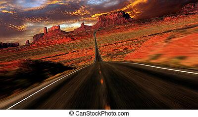 fantasia, immagine, valle, tramonto, monumento