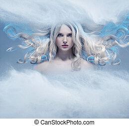 fantasia, loiro, expressivo, beleza, retrato