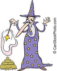 fantasia, mago, cartone animato, illustrazione