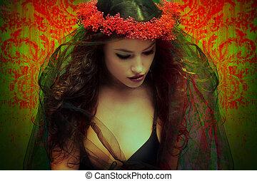 fantasia, mulher, com, grinalda, de, flores