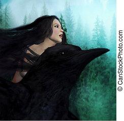 fantasia, mulher, e, corvo