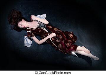 fantasia, mulher, mentindo, chão, com, espada
