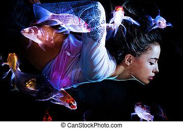 fantasia, mulher mergulha, com, peixes