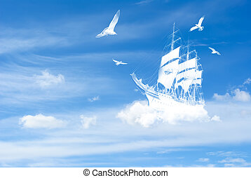 fantasia, navio, nuvens