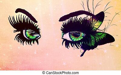 fantasia, occhi, verde