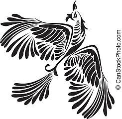 fantasia, pássaro, estêncil