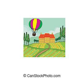 fantasia, paesaggio, con, palloni aria caldi