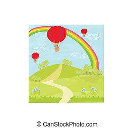 fantasia, paesaggio, con, rosso, palloni aria caldi