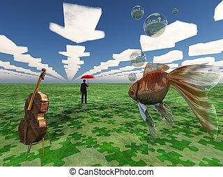 fantasia, paesaggio, con, violoncello